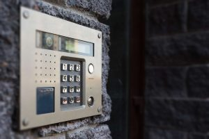Video intercom on the facade of a modern building